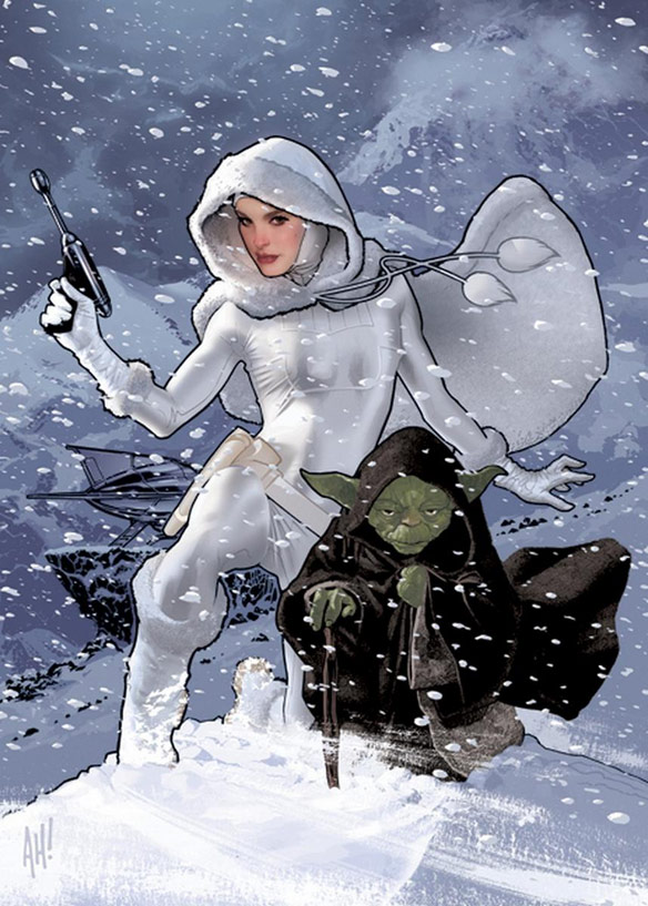 Snowbunny Padme and Yoda by Adam Hughes