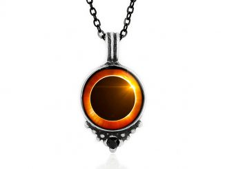 Solar Eclipse Black Swarovski Crystal in Pewter Necklace