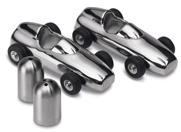 Solid Metal Salt and Pepper Racing Car Shakers
