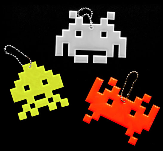 Space Invaders Reflective Keychains
