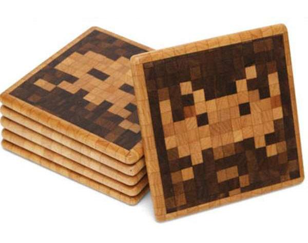 Space Invaders Wood Coasters