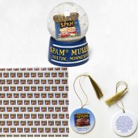 Spam Holiday Snowdome, Wrapping Paper, and Ornament