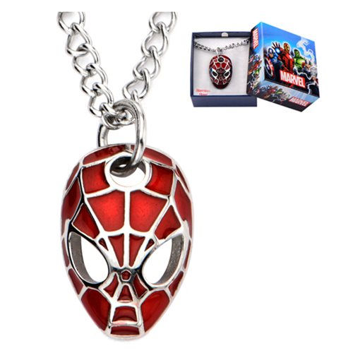 Spider-Man Face Red Pendant with Chain Necklace