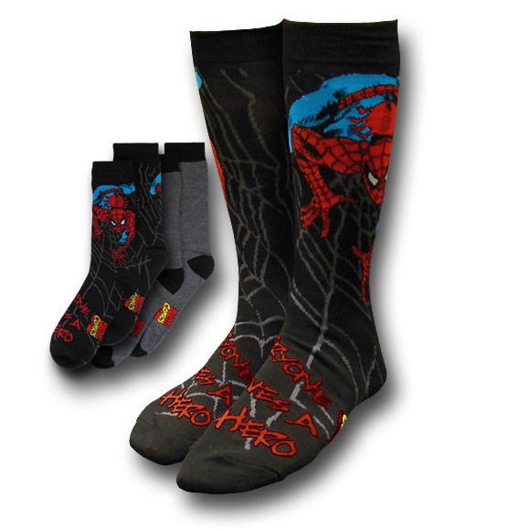 Spider Man Image and Grey Socks 2 Pack