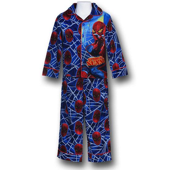 Spider-Man Kids Button-Up Blue Spider Sense Pajamas