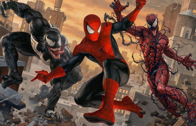 & Spider-Man vs Venom and Carnage Art Print