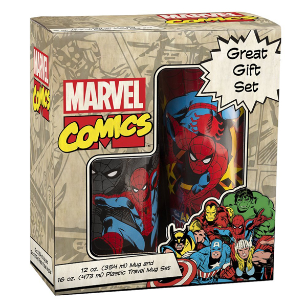 SpiderMan Ceramic Mug and Plastic Travel Mug Set