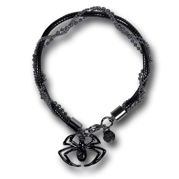 Spiderman Black and Silver Bracelet with Spider