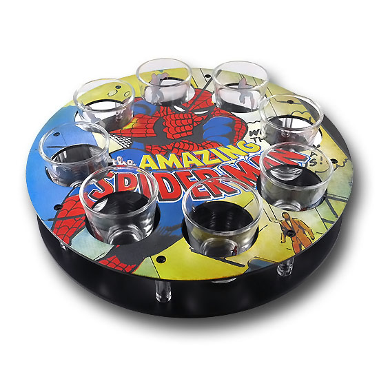 Spiderman Shot Glass Set with Caddy