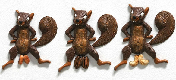 Squirrel Magnets with Mixed Nuts