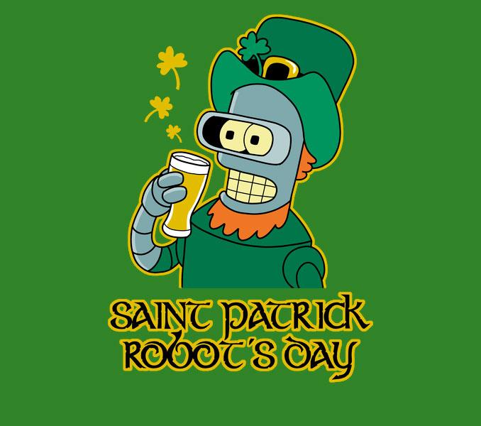 St. Patrick Robot's Day Futurama Bender Shirt