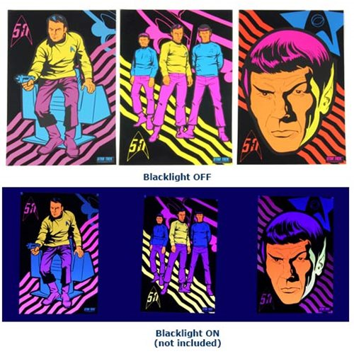 Star Trek 50th Anniversary Black Light Poster 3-Pack Set