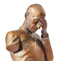 Star Trek Captain Picard Facepalm Bronze Bust Detail