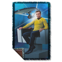 Star Trek Captains Chair Woven Tapestry Throw Blanket