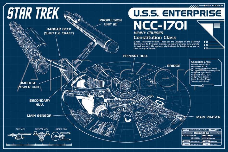 Star trek enterprise blueprint poster malvernweather Image collections