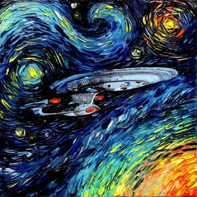 Star Trek Enterprise Starry Night Print