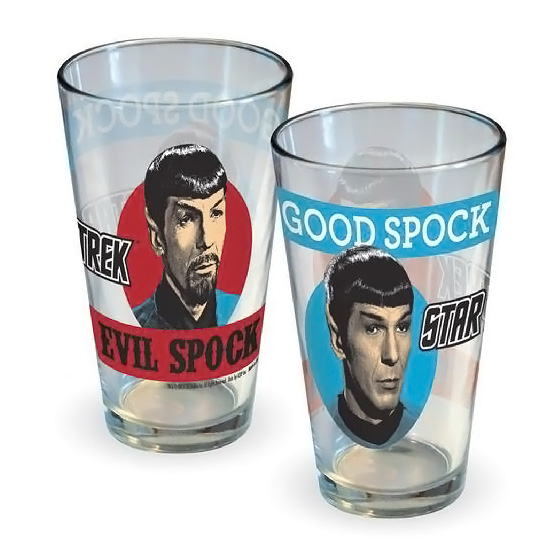 Star Trek Good Spock and Evil Spock Pint Glass