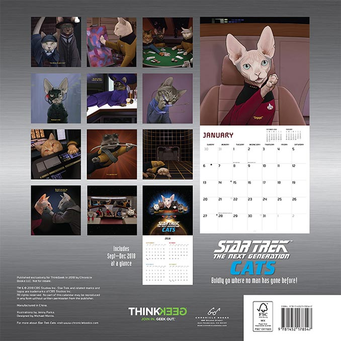Star Trek TNG Cats 2019 Calendar