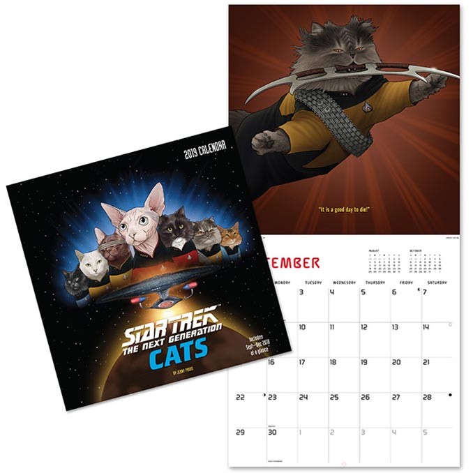 Star Trek TNG Cats 2019 Wall Calendar