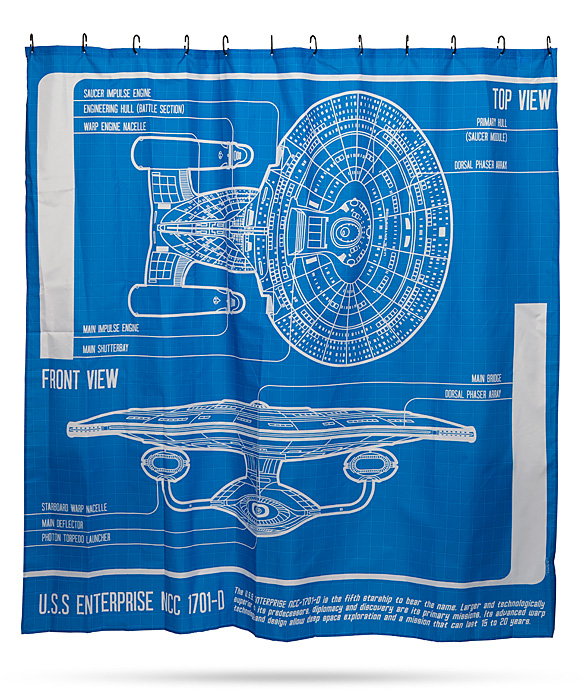 Star Trek TNG Enterprise Blueprint Shower Curtain