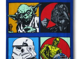 Star Wars 4 Blocks Yoda, Vader, Stormtrooper, R2 and C-3PO Throw Blanket