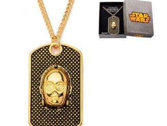 Star Wars C-3PO 3-D Gold Plated Dog Tag Necklace