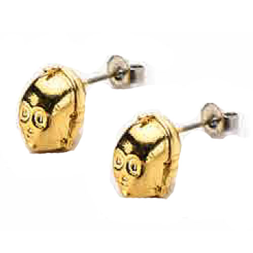 Star Wars C-3PO Gold Plated 3-D Stud Earrings