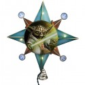 Star Wars Clone Wars Gold Yoda Star Lighted Tree Topper