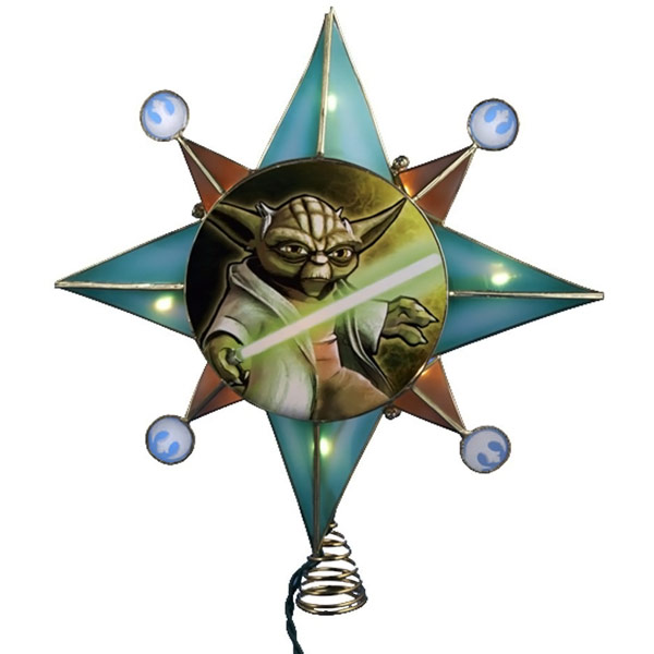 star wars clone wars yoda lighted tree topper. Black Bedroom Furniture Sets. Home Design Ideas