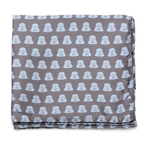 Star Wars Darth Vader Helmet Pattern Gray and Light Blue Italian Silk Pocket Square