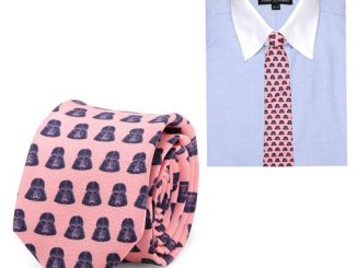 Star Wars Darth Vader Helmet Pattern Pink and Navy Italian Silk Skinny Tie