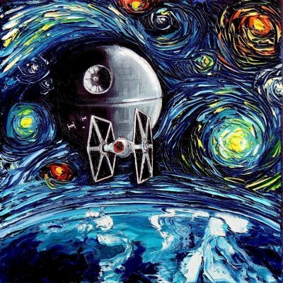Star Wars Death Star Starry Night Mash-Up Print
