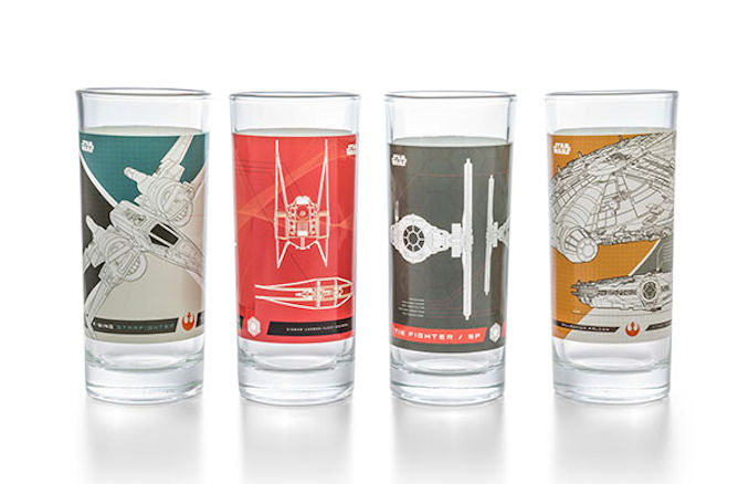 Star Wars Ep VIII Fighter Ships 4 pc. 10 oz. Glass Set
