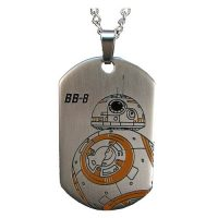 Star Wars Episode VII - The Force Awakens BB-8 Droid Laser Etched Stainless Steel Dog Tag Pendant Necklace
