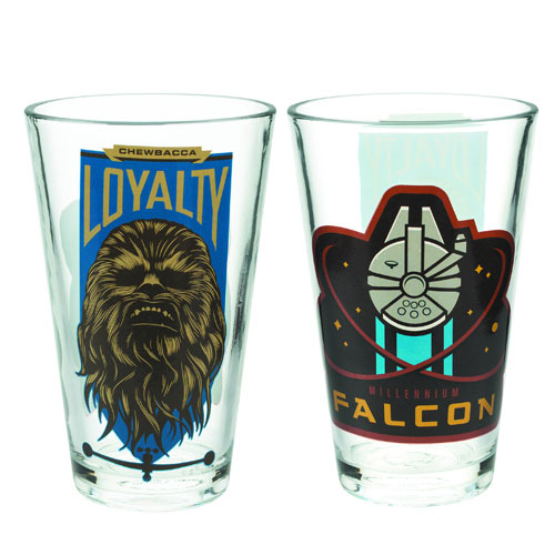 Star Wars Episode VII - The Force Awakens Millennium Falcon and Chewbacca 10 oz. Glass Tumbler
