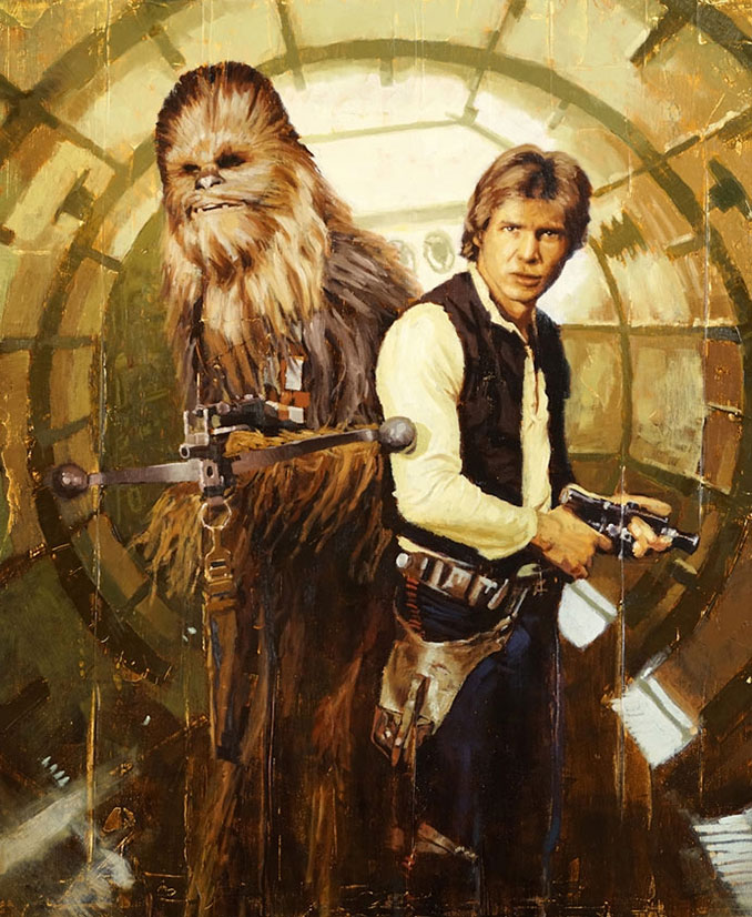 Star Wars Han Chewie by Christopher Clark Giclee