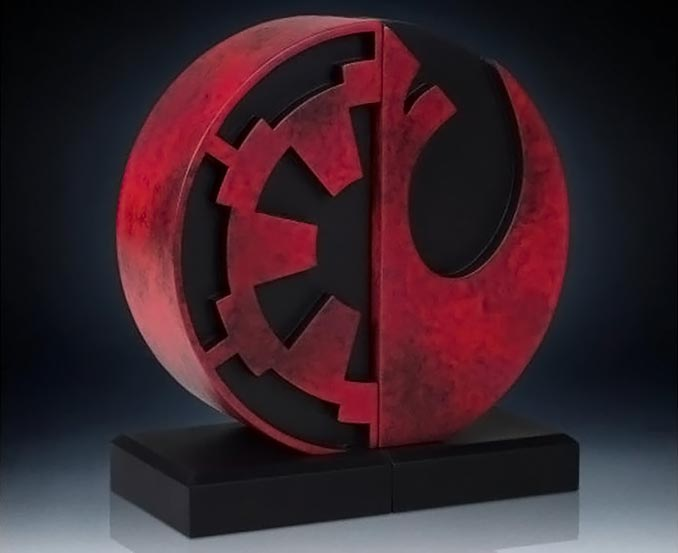 Star Wars Imperial and Rebel Logo Bookends