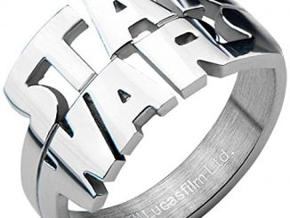 Star Wars Mens Cut Out Logo Stainless Steel Ring