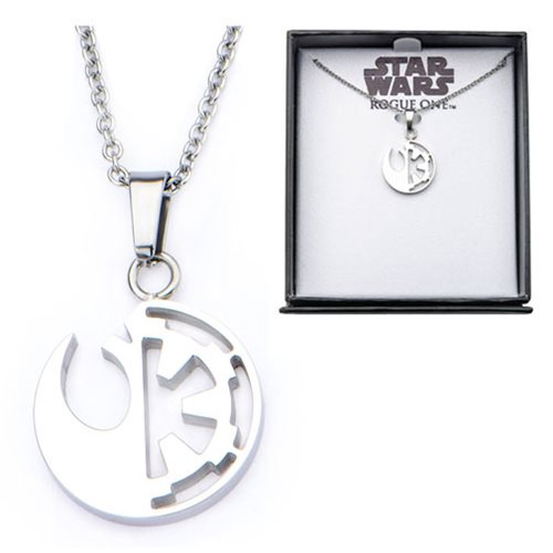 Star Wars Rogue One Rebel Alliance and Galactic Empire Symbol Cut Out Stainless Steel Pendant Necklace