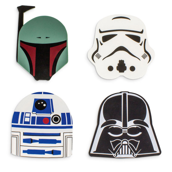 Star Wars Boba Fett, Darth Vader, R2-D2 and Stormtrooper Silicon Coasters