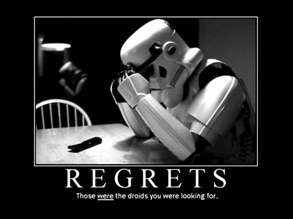 Star Wars Stormtrooper Demotivational Regrets Poster