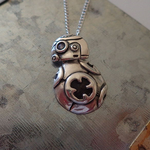 Star Wars The Force Awakens BB-8 Silver Charm Necklace