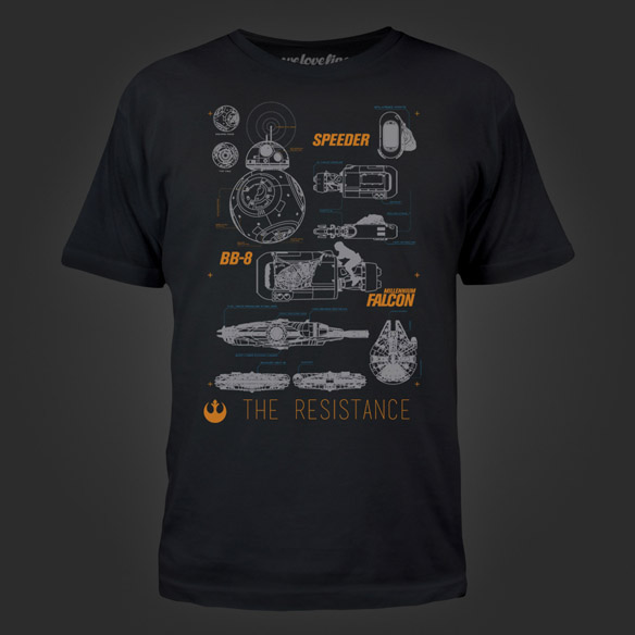 Star Wars The Force Awakens Blueprints T-Shirt