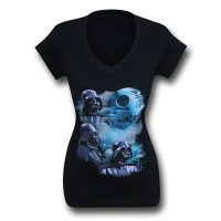 Star Wars Triple Vader Womens V-Neck T-Shirt