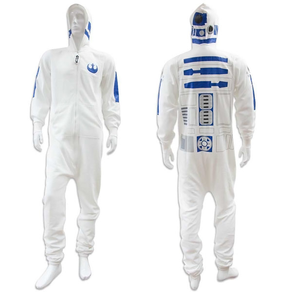 Star Wars White Adult Mens R2D2 Onesie