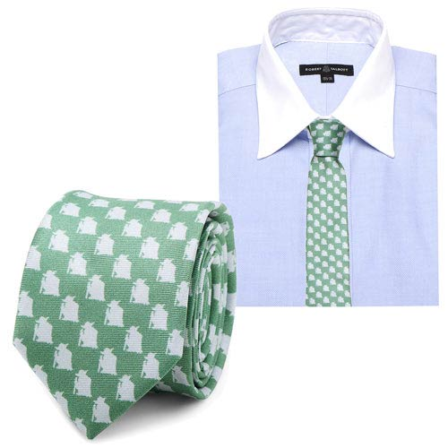 Star Wars Yoda Pattern Green and Gray Italian Silk Skinny Tie