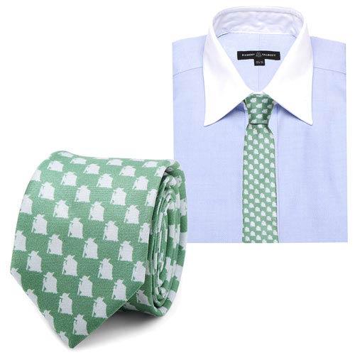 Star Wars Yoda Pattern Green and Gray Italian Silk Skinny Tie