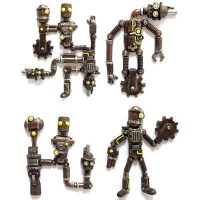 Steampunk Robot Fridge Magnet Sets