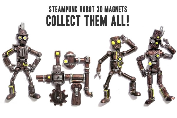 Steampunk Robot Magnets