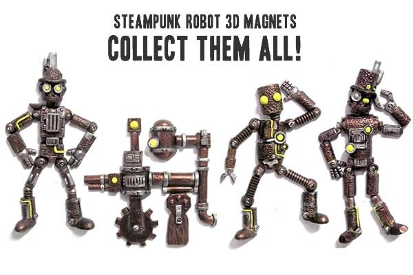 Steampunk Robot Magnets